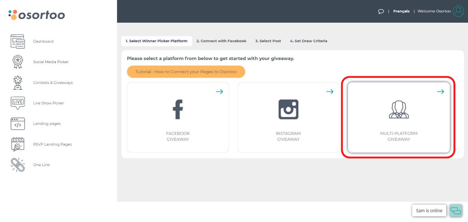 Choose comment picker Instagram, Facebook or Multi-Platform Giveaway
