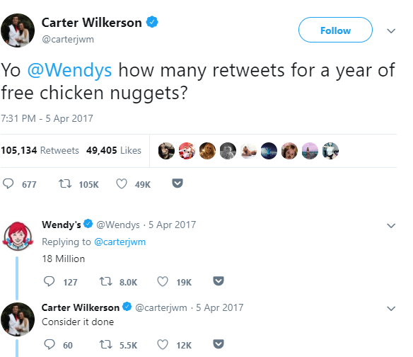 Wendy responding to customer tweet