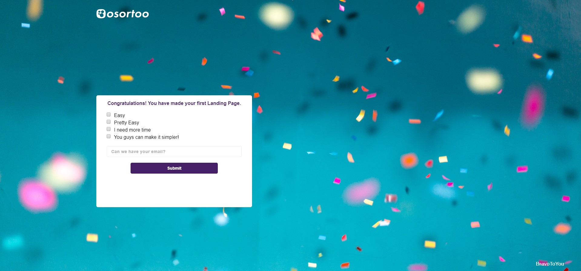 Congratulations you have made a Landing Page