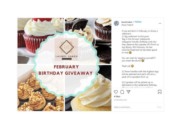 Cake shop Instagram giveaway
