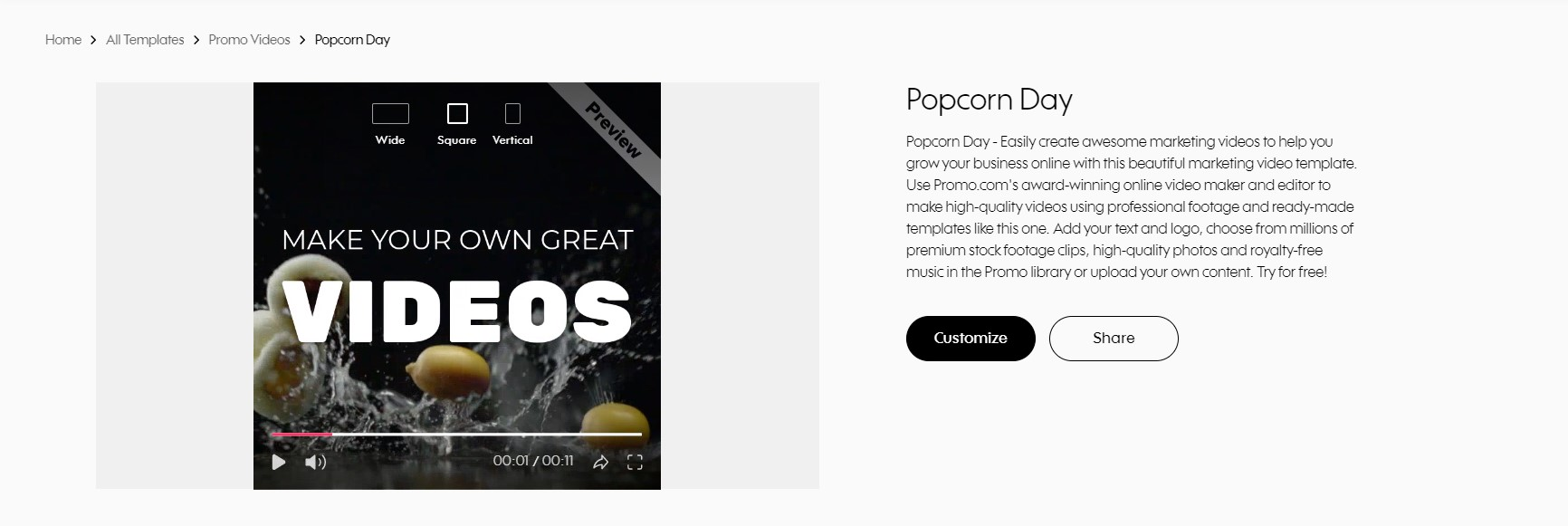 Customize your marketing video at Promo